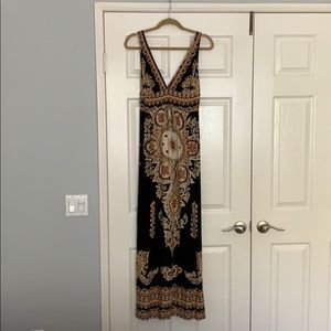 Maxi Dress.  Black, Gold and Red Design.